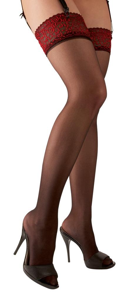 Jackie - Strumpor med mörkröd spets | LINGERIE & KLÄDER, SEXIGA UNDERKLÄDER, Strumpor & Höfthållare, Brands, Cottelli Collection | Intimast.se - Sexleksaker