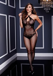 Crisscross Lace Crotchless Bodystocking