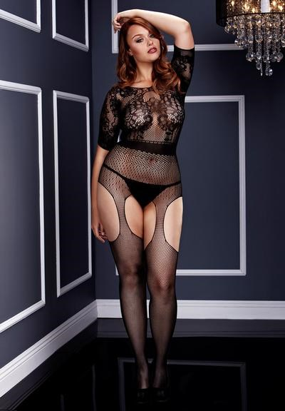 Short Sleeve Crotchless Bodystocking Queensize