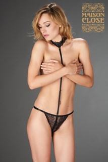 LE PETIT SECRET - OPENABLE THONG WITH HARNESS - BLACK