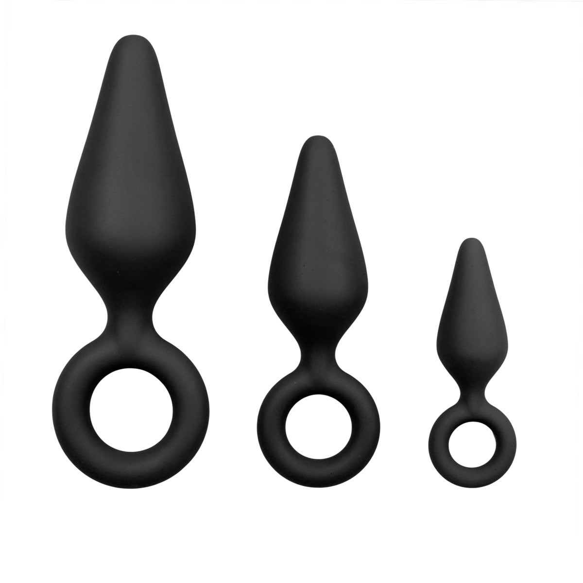 Black Buttplugs With Pull Ring Set