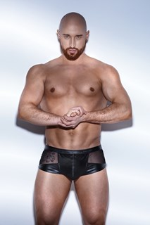 Noir Power Wetlook Men Shorts Tulle
