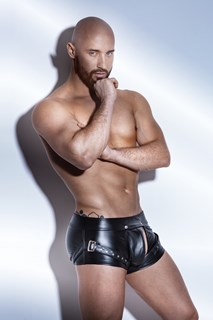 Noir Power Wetlook Men Shorts Cutouts