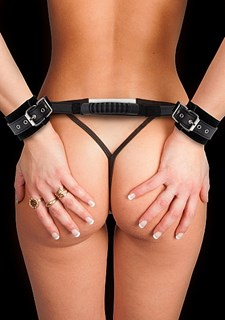 Ouch Adjustable Leather Handcuffs