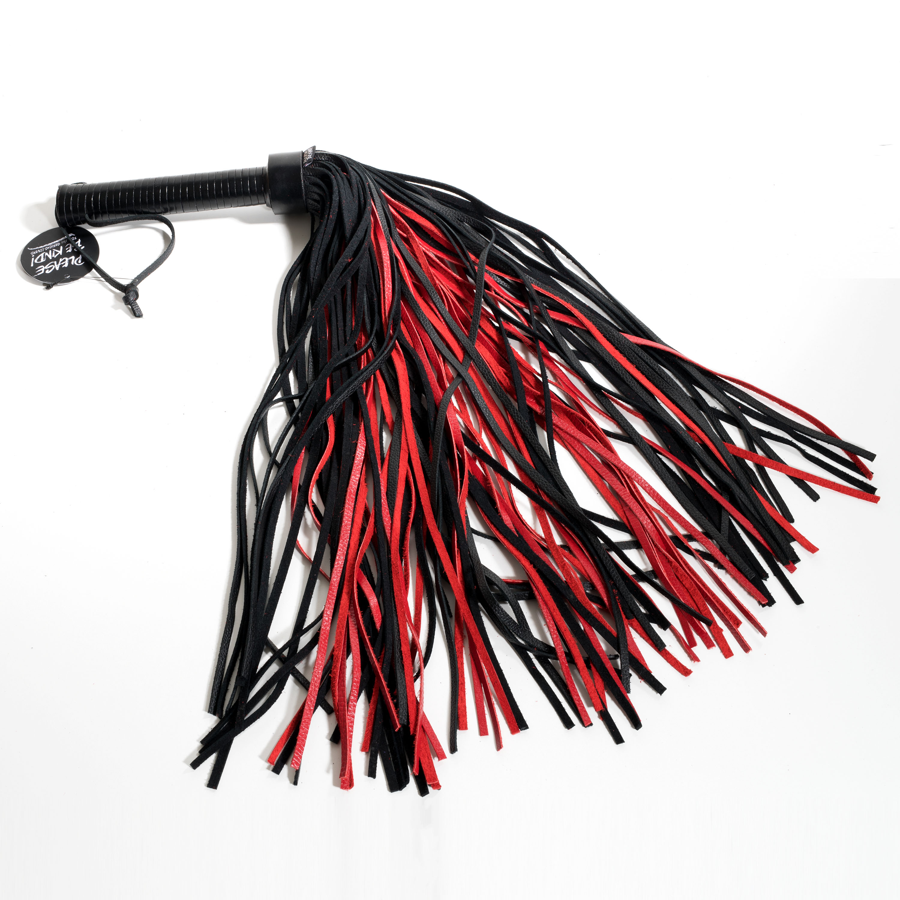 Flogger With Leather Handle & Stripes Black & Red